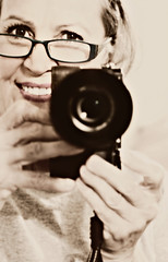 The Photographer..in me (glasskunstler) Tags: woman myself artist selfportrait creative monochrome photographer womanselfportrait love me sony zeiss55mm mirrorless camera glasses