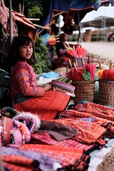 Tea Field Colors (thirdworldsong) Tags: dreams threaded thirdworld beautiful people native yellow orange pink red light natural vibrant colors street market customs clothes tradition culture green plantation fields tea mountains mocchau vietnam asia girl local youth smile