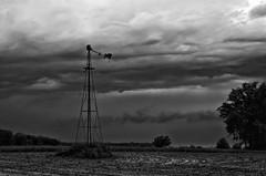 Stormy Skies (ramseybuckeye) Tags: stormy skies clouds windmill rain sky pentax black white art mercer county ohio