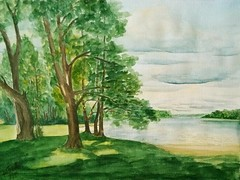 Sommer am See (ju-friedrich) Tags: watercolor watercolour aquarell