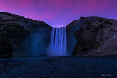 Silver River fell from Heaven (Ping...) Tags: skogafoss iceland sunset bluehour waterfall pink mountain cascade
