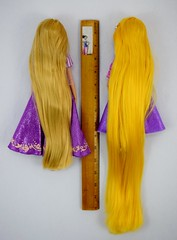 Classic Rapunzel Doll (2016) vs Rapunzel Adventure Doll (2017) - Deboxed - Lying Down Side by Side - Full Rear View (drj1828) Tags: us disneystore rapunzel tangled comparison 12inch 10inch posable doll deboxed