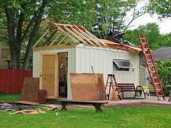 THE WORKSHOP REBUILD SO FAR (richie 59) Tags: ulstercountyny ulstercounty newyorkstate newyork unitedstates townofesopusny townofesopus spring richie59 stremyny stremy america outside constructionarea buildingsite constructionsite 2010s backyard weekday grass tuesday yard construction neighborhood patio home 2017 workshop may2017 may232017 hudsonvalley midhudsonvalley midhudson nystate nys ny usa us woodenbuilding trees wood suburbia rooftruss roofreplacement