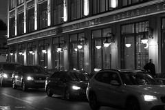 Evening in the Street (VladimirTro) Tags: canon city russia saintpetersburg street bw monochrome россия санктпетербург outdoor europe 500d architecture cityscape eos dslr photo photography night dark man car фото фотография город ночь улица монохром