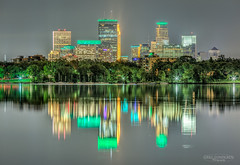 Emerald City (Greg Lundgren Photography) Tags: minneapolis startribune st150 skyline night lake reflection calhoun ids target capella urban cityscape twincities minnesota green