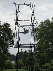 "Lisle, IL, Morton Arboretum, Origami Sculpture, ""Spirit House"" (Artist: Kevin Box) (Mary Warren (8.8+ million views)) Tags: lisleil mortonarboretum kevinbox art sculpture origami white spirithouse metal"