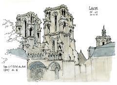 Laon, les tours de façade de la cathédrale (gerard michel) Tags: france picardie laon cathédrale tour sketch croquis