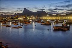 Botafogo inlet in the blue hour (Daniel Schwabe) Tags: bluehour mountain boat nightlight botafogo corcovado riodejaneiro brasil brazil landscape seascape travel tourism