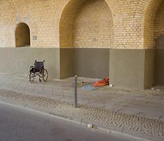 (Udrian) Tags: plaubel makina 670 67 6x7 medium format 120 80mm 28 nikkor fuji pro 400h color photography analog film homeless wheelchair bridge berlin germany