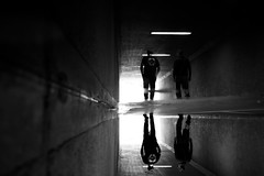 II (maekke) Tags: zürich switzerland schweiz ch puddlegram reflection pointofview pov bw noiretblanc 35mm fujifilm x100t streetphotography tunnel underground urban man 2017 silhouette