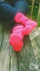 Pink Skulls (mistresssocks) Tags: socks feet fetish sole pinksocks kneehigh outside foot