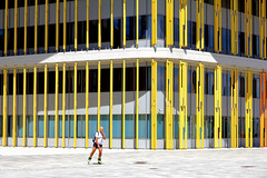 Freetime (Daniel Nebreda Lucea) Tags: skater patinador sport deporte architecture arquitectura building edificio construccion structure estructura composition composicion color colorful lines lineas weekend fin de semana hobbie street calle city ciudad modern moderno urban urbano canon 60d 50mm texture textura pattern patron expo zaragoza europe europa people man hombre motion movimiento speed velocidad