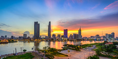 Saigon river Skyline @ sunset (daihocsi [(+84) 918.255.567]) Tags: saigon skyline river sunset hoànghôn