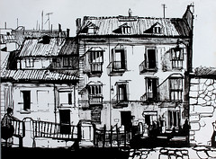 Spanish houses (Martin Blunt) Tags: brush drawing indianink houses spain sketch sketchbook charcoal folder