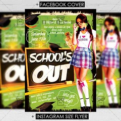 School's Out Party - Premium A5 Flyer Template (ExclusiveFlyer) Tags: exclusiveflyer psd freeflyer freepsd collegenight college schoolsout schooloutparty graduation school afterschoolparty graduationnight university hat