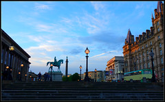 Lime Street Liverpool towards the 'Empire' (ronramstew) Tags: liverpool uk city centre lightnight may 2017 2010s limestreet street stgeorgeshall stgeorgesplateau northwesternhotel empire theatre statue princealbert equestrian