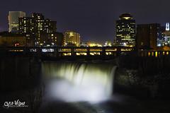 Rochester Nights (wilbias) Tags: city water night light glow lights ny long niagara exposure new state shine illumination york rochester escarpment