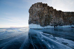 I Am A Rock (setoboonhong ( Back and catching up )) Tags: nature outdoor lake baikal southern siberia russia sunrise frozen ice cracks faults clear landscape rock lichen icicles song simon garfunkel 1966 travel arock am i ngc
