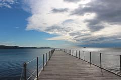 Ankaran (katharinaburgstaller1) Tags: ankaran slowenien slovenia sea sky bridge blue wolke water selfmade boat followme