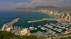 Calpe Harbour (Macca6691) Tags: calpe penyaldifach parquenaturaldelpenondeifach naturereserve spain espana spring2017 vacation holidays holiday harbour realclubnautico playaarenalbol beach beachfront harbourside marina calladelmorello playacantalroig yachts yacht fishingboats fishingvessel landscape landscapes panasoniclx5 lx5 costablanca mediteraenean mediterraneansea sea