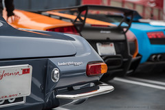 Lamborghini Lineage (Bryce Womeldurf) Tags: 2016 california hoonart lamborghini losangeles petersenautomotivemuseum thepetersen cruisein 350gt murcielago lp6704sv sv superveloce gallardo lineage generations ancestry hooniverse