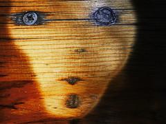 forest spirit (christikren) Tags: macromondays pareidolia wood holz grain texture struktur schraube brett christikren macro maserung orange gelb