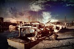#Chi sa. La gioia è forse potere sempre partire… (graceindirain) Tags: sujatabhatt boats harbor pesaro marche italy texture digitalpainting graceindirain