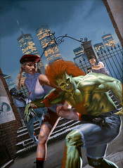 Street Fighter: The Storytelling Game, cover by Kevin Murphy, 1994 (Tom Simpson) Tags: cover kevinmurphy 1994 streetfighter illustration art cammy 1990s videogame rpg roleplayinggame tabletopgame storytellinggame vintage painting blanka streetfighterthestorytellinggame wtc worldtradecenter twintowers nyc newyork newyorkcity brooklyn