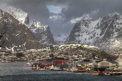Stormy day (Joost10000) Tags: snow mountain sea atlantic landscape reine nature lofoten norway norge norland scenic beauty clouds wind outdoors natur landschaft landschap europe europa wild wilderness canon canon5d eos mountains harbour village fishing epic