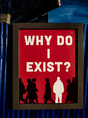 WHY DO I EXIST? (Steve Taylor (Photography)) Tags: whydoiexist frame art poster black blue red white man people newzealand nz southisland canterbury christchurch silhouette fence iron metal corrugated sky