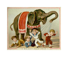 A Bright New Year. Victorian card (Kanerva2) Tags: christmas victorian scrapbook card greeting traditional hobby hobbie pastime elephant children boy child circus newyear