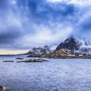 Norwegian Fishing Village Hamnoy Shot From Bridge in the Distance.