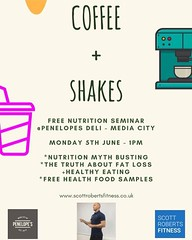 MEDIA CITY PEOPLE A reminder that a week today I will be speaking at @penelopesmcr deli. - nutrition myths - the truth about fat loss - healthy eating etc ** FREE FOOD SAMPLES ** 🍖🍔 Come on down for a chat, a bit of fun and did I me