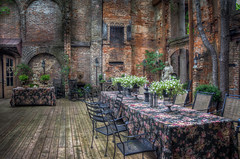 Outdoor Reception Area at Hundred Oaks Castle (donnieking1811) Tags: tennessee winchester hundredoakscastle architecture building castle outdoors recptionarea bricks walls trees arches tables chairs flowers statues hdr canon 60d lightroom photomatixpro