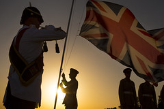 Sunset Ceremony in Episkopi (aeroman3) Tags: royalairforce nonidentifiable personnel sunsetceremony buglar unionflag unionjack sunset ceremony flag raf army episkopi rafphotographiccompetition2016 remembrance
