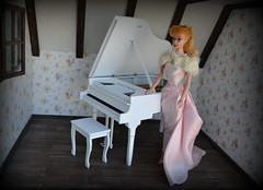 Piano and vintage Barbie (pe.kalina) Tags: barbie vintage piano miniature dollhouse mattel handmade doll blythe momoko