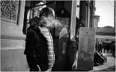 Untitled (Steve Lundqvist) Tags: sepia seppia bw black smoke smoking cigarette age people teramo italy italia italiano blackandwhite monochrome street fujifilm x100s streetphotography candid shot snap