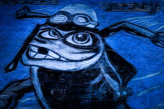 The Crazy frog returns. (Chris Hamilton Photography) Tags: street artwork art colour blue flickr frog crazy fun urban