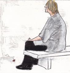 # 111 (2017-06-01) (h e r m a n) Tags: herman illustratie tekening 10x10cm tegeltje drawing illustration karton carton cardboard vrouw woman bankje museumvisitor museumbezoeker museum