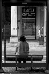 Torino (Marcello Iaconetti Photography) Tags: torino biancoenero blackandwhite turin italy lentiacontatto street nikon people strada fermata bus attese panchina