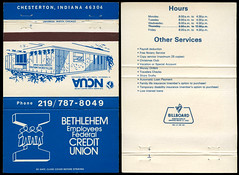 Bethlehem Employees Federal Credit Union in Chesterton, Indiana - Matchcover (Shook Photos) Tags: match matches matchbook matchbooks matchcover matchcovers smoke smoking advertise advertisement promotion promotional chestertonindiana chesterton bethlehemsteel bethlehememployeesfederalcreditunion creditunion bank lender banking financialinstitution loan loans saving savings