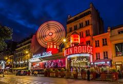 Moulin Rouge by night (long exposure) (emilqazi) Tags: moulin rouge paris france long exposure city cityscape citylife night nightlife nightscape street evening bar cabaret travel rochechouart boulevard