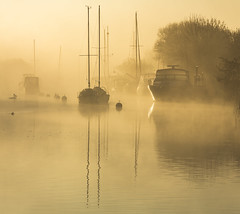Misty Reflections (Nick L) Tags: landscape wareham dorset uk riverfrome yachts misty mist dawn swans bouys canon5d3 dorsetmisty
