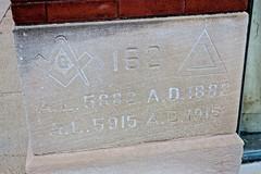 Masonic Temple, Red Oak, IA (Robby Virus) Tags: redoak iowa ia cornerstone masonic temple building masons freemasons lodge fraternal organization