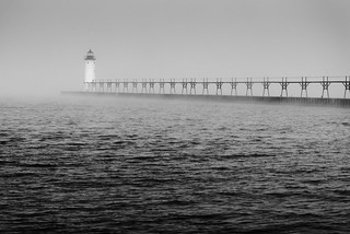 Manistee lighthouse in fog