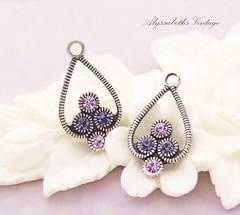 IMG_5722 (AlyssabethsVintage) Tags: swarovskirhinestones etsy earringcomponents jewelrysupply alyssabethsvintage antiquesilver rhinestonefindings vintage earring dangles bead shop purple rhinestones