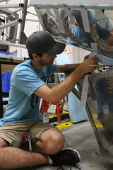 "Michael adds insulating foam to the telescope baffle • <a style=""font-size:0.8em;"" href=""http://www.flickr.com/photos/27717602@N03/35185979846/"" target=""_blank"">View on Flickr</a>"