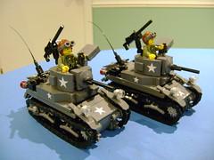 Lego custom Stuart M3A1 tank duo (tekmoc17) Tags: lego stuart m3a1 tank custom moc brick us usa war ww2 duo 2