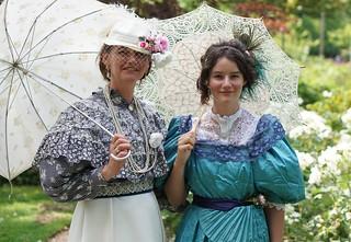 1897, Belle Epoque. A nice walk with two elegant ladies