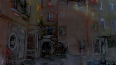 Morning windows (Bamboo Barnes - Artist.Com) Tags: italy venice shadow dark light blue grey yellow photo painting digitalart street alley brick wall bamboobarnes apartment building door window morning red orange pink